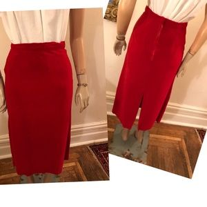 50's Red Velvet Wiggle Skirt, Rockabilly Skirt